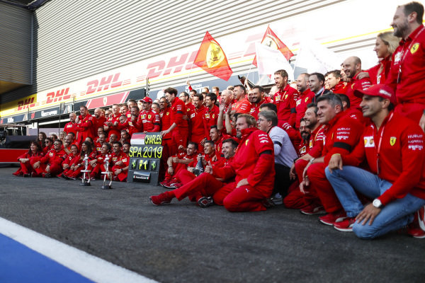 Charles Leclerc, Ferrari, celebrates victory with Mattia Binotto, Team Principal Ferrari, and other colleagues