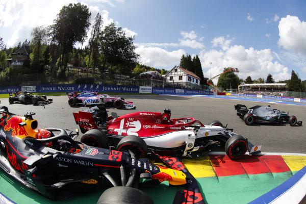 Valtteri Bottas, Mercedes AMG W10, leads Kimi Raikkonen, Alfa Romeo Racing C38, and Max Verstappen, Red Bull Racing RB15