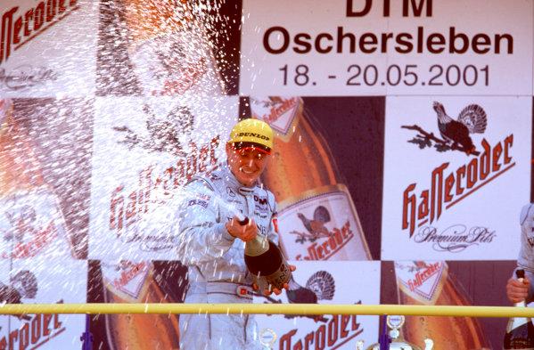 2001 DTM ChampionshipOscersleben, Germany. 19th - 20th May 2001.Race winner Marcel Fassler, AMG Mercedes- Benz CLK - podium.World Copyright: Peter Spinney/LAT Photographicref: 35mm Image A12