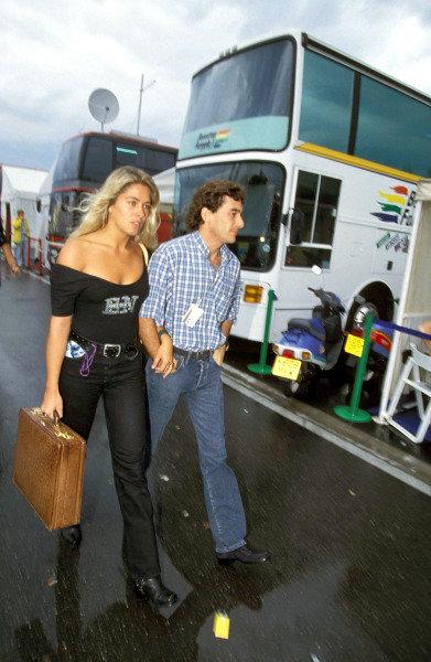 Ayrton Senna and his girlfriend Adriana Galisteu.