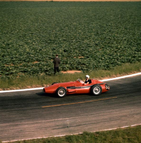 1958 French Grand Prix.Reims, France.4-6 July 1958.Jo Bonnier (Maserati 250F) 8th position.Ref-3/0071.World Copyright - LAT Photographic