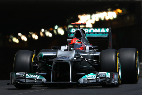 Michael Schumacher (GER) Mercedes AMG F1 W03. Formula One World Championship, Rd6, Monaco Grand Prix, Qualifying Day, Monte-Carlo, Monaco, Saturday 26 May 2012. BEST IMAGE