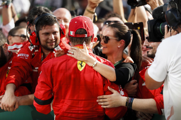 Kimi Raikkonen, Ferrari celebrates with family and team in Parc Ferme.