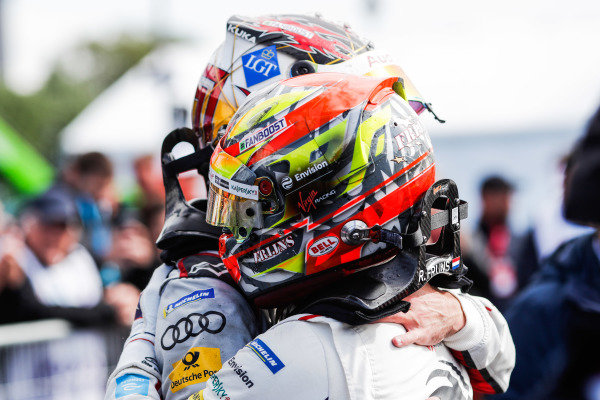 Robin Frijns (NLD), Envision Virgin Racing, Audi e-tron FE05, celebrates by hugging Daniel Abt (DEU), Audi Sport ABT Schaeffler, Audi e-tron FE05 after winning the race