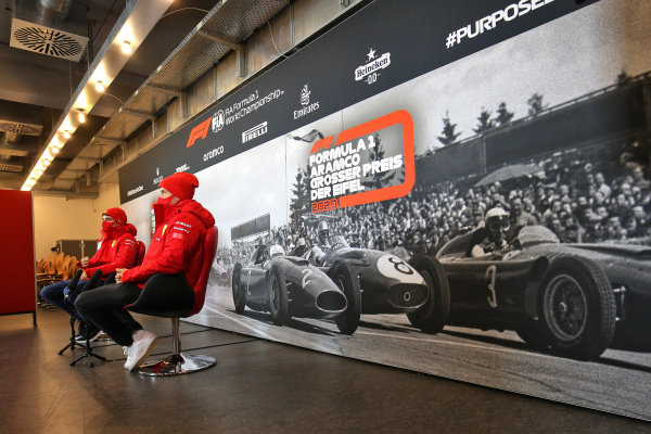 Sebastian Vettel, Ferrari and Charles Leclerc, Ferrari in the press conference