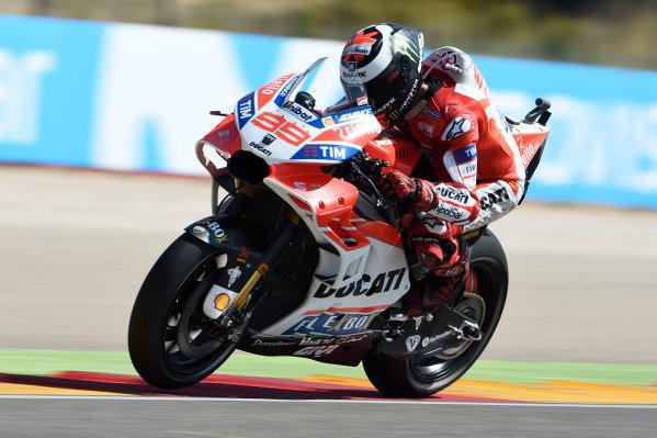 2017 MotoGP Championship - Round 14 Aragon, Spain. Saturday 23 September 2017 Jorge Lorenzo, Ducati Team World Copyright: Gold and Goose / LAT Images ref: Digital Image 13705