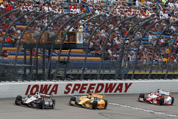 22-23 June, 2013, Newton, Iowa, USA Will Power leads Ryan Hunter-Reay and Justin Wilson.(c) 2013, Perry Nelson LAT Photo USA