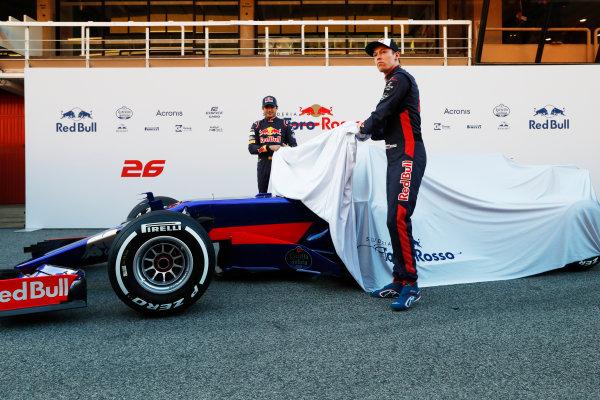 Toro Rosso STR12 Formula 1 Launch. Barcelona, Spain  Sunday 26 February 2017. Carlos Sainz Jr, Toro Rosso. and Daniil Kvyat, Toro Rosso.   World Copyright: Dunbar/LAT Images Ref: _31I9684