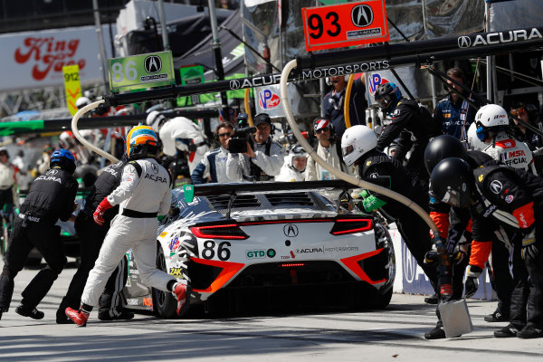2017 IMSA WeatherTech SportsCar Championship BUBBA burger Sports Car Grand Prix at Long Beach Streets of Long Beach, CA USA Saturday 8 April 2017 86, Acura, Acura NSX, GTD, Oswaldo Negri Jr., Jeff Segal, pit stop World Copyright: Michael L. Levitt LAT Images ref: Digital Image levitt-0417-lbgp_08403