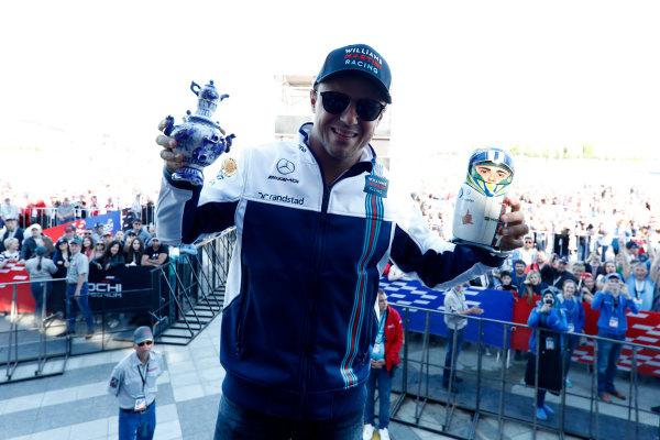 Sochi Autodrom, Sochi, Russia. Thursday 27 April 2017. Felipe Massa, Williams Martini Racing, displays gifts from fans, including a Russian matryoshka doll. World Copyright: Glenn Dunbar/LAT Images ref: Digital Image _X4I5193