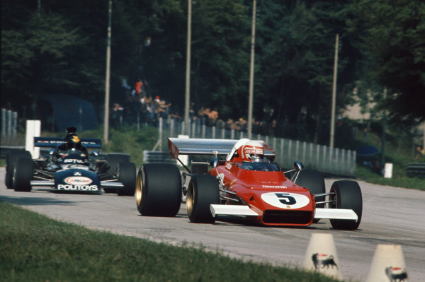 1972 Italian Grand Prix.  Monza, Italy. 8-10th September 1972.  Clay Regazzoni, Ferrari 312B2, leads Carlos Pace, March 711 Ford.  Ref: 72ITA30. World Copyright: LAT Photographic