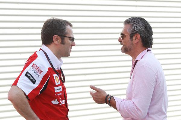 (L to R): Stefano Domenicali (ITA) Ferrari General Director talks with Maurizio Arrivabene (ITA) Marlboro Europe Brand Manager. Formula One World Championship, Rd 9, European Grand Prix, Race Day, Valencia Spain, Sunday 27 June 2010.
