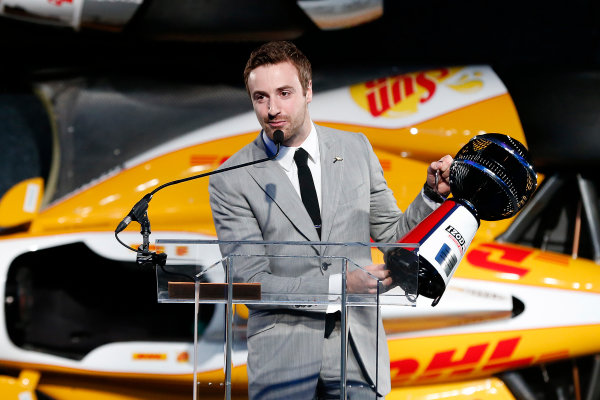 6 December, 2012, Indianapolis, Indiana, USA James Hinchcliffe with fan award.(c) 2012, Michael L. Levitt LAT Photo USA