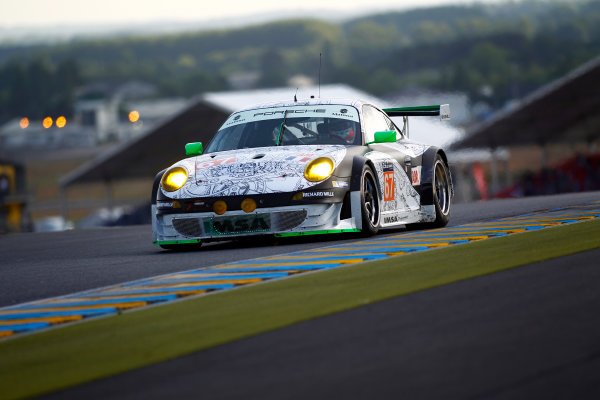 2014 Le Mans 24 Hours. Circuit de la Sarthe, Le Mans, France. Wednesday 11 June 2014.  Erik Maris/Jean-Marc Merlin/Eric Helary, IMSA Performance Matmut, No.67 Porsche 911 GT3 RSR.  World Copyright: Adam Warner/LAT Photographic. ref: Digital Image _MG_5363