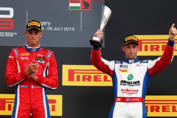 2015 GP3 Series Round 4.  Hungaroring, Budapest, Hungary. Sunday 26 July 2015. Kevin Ceccon (ITA, Arden International) & Jimmy Eriksson (SWE, Koiranen GP)  World Copyright: Sam Bloxham/LAT Photographic. ref: Digital Image _79P9021