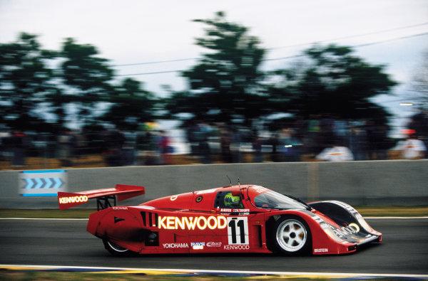 Le Mans, France. 22 - 23 June 1991.Manuel Reuter/Harri Toivonen/J J. Lehto (Porsche 962CK6), 9th position, action. World Copyright: LAT Photographic.Ref:  91LM29