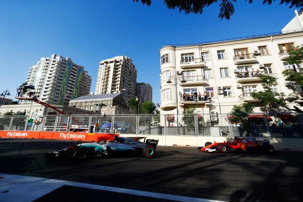 Baku City Circuit, Baku, Azerbaijan. Sunday 25 June 2017. Lewis Hamilton, Mercedes F1 W08 EQ Power+, leads Sebastian Vettel, Ferrari SF70H.  World Copyright: Steven Tee/LAT Images ref: Digital Image _O3I3650