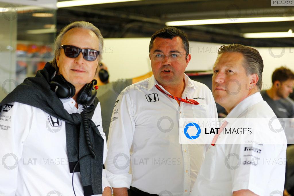 Circuit Gilles Villeneuve, Montreal, Canada. Friday 09 June 2017. Mansour Ojjeh, CEO, TAG, Eric Boullier, Racing Director, McLaren, and Zak Brown, Executive Director, McLaren Technology Group. World Copyright: Steven Tee/LAT Images ref: Digital Image _R3I9889