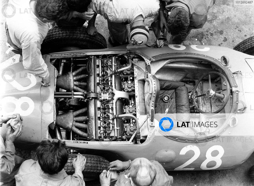 Reims, France. 29/6-1/7 1956. Mechanics look at the straight 8 Bugatti 251 engine in Trintignant's Bugatti Type 251 chassis. Ref-Autocar C47521. World Copyright - LAT Photographic