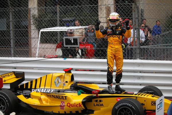 Monte Carlo, Monaco. 15th May 2010. Saturday Race.Jerome D'Ambrosio (BEL, Dams) celebrates his victory. Photo: Andrew Ferraro/GP2 Media Service.Ref: _MG_5476 jpg