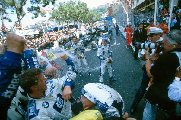 2005 Monaco Grand PrixMonte Carlo, Monaco. 19th - 22nd May Nick Heidfeld, Williams F1 BMW FW27 sprays champagne over the Williams crew after the race World Copyright: Lorenzo Bellanca/LAT Photographic ref: 35mm Image 05Monaco10