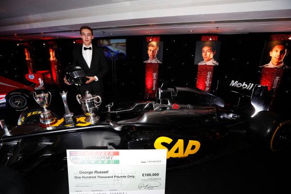 2014 Autosport Awards. Grosvenor House Hotel, Park Lane, London. Sunday 7 December 2014. George Russell wins the 2014 McLaren AUTOSPORT BRDC Award. World Copyright: Sam Bloxham/LAT Photographic. ref: Digital Image _14P4027