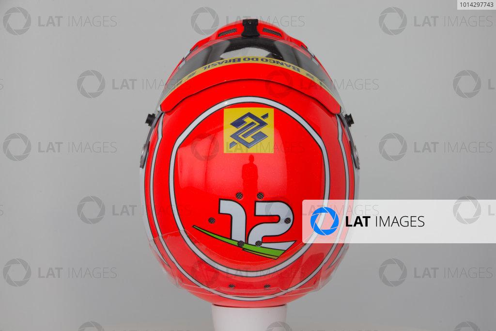 Hinwil, Switzerland. Thursday 29 January 2015. Helmet of Felipe Nasr, Sauber.  World Copyright: Sauber F1 Team (Copyright Free FOR EDITORIAL USE ONLY) ref: Digital Image 2015_SAUBER_HELMET_06