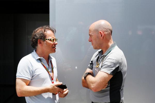 Interlagos, Sao Paulo, Brazil. Friday 7 November 2014. Jacques Villeneuve with Jock Clear, Race Engineer, Mercedes AMG. World Copyright: Charles Coates/LAT Photographic. ref: Digital Image _N7T8181