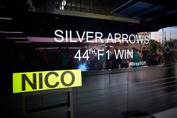 Interlagos, Sao Paulo, Brazil. Sunday 15 November 2015. Commemorating the 44th win for the Mercedes Silver Arrows team. World Copyright: Steve Etherington/LAT Photographic ref: Digital Image SNE13115