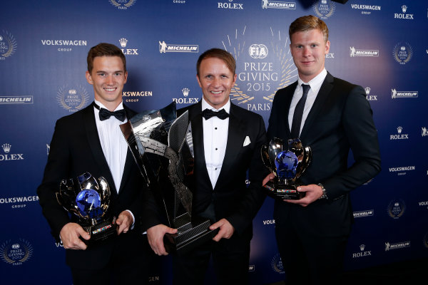 2015 FIA Prize Giving Paris, France Friday 4th December 2015 Johan Kristoffersson, Timmy Hansen and Petter Solberg, portrait  Photo: Copyright Free FOR EDITORIAL USE ONLY. Mandatory Credit: FIA / Jean Michel Le Meur  / DPPI ref: _ML23411