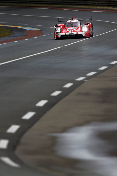 2015 Le Mans 24 Hours. Circuit de la Sarthe, Le Mans, France. Wednesday 10 June 2015. Porsche Team (Porsche 919 Hybrid - LMP1), Timo Bernhard, Mark Webber, Brendon Hartley.  Photo: Sam Bloxham/LAT Photographic. ref: Digital Image _SBL6159
