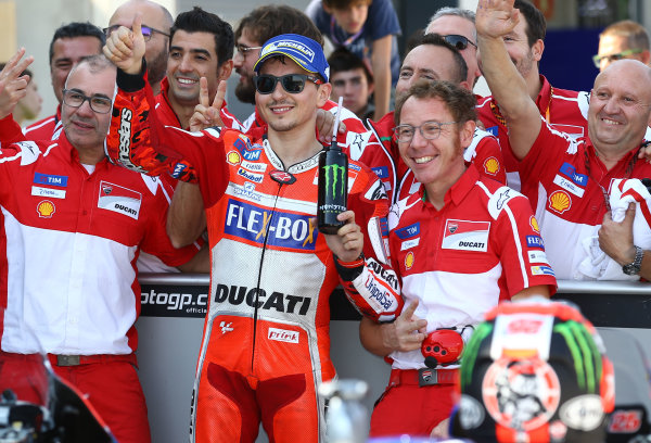 2017 MotoGP Championship - Round 14 Aragon, Spain. Saturday 1 January 2000 Second place Jorge Lorenzo, Ducati Team World Copyright: Gold and Goose / LAT Images ref: Digital Image 694242