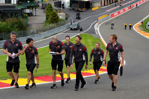 Spa Francorchamps, Belgium.  Thursday 24 August 2017. Romain Grosjean, Haas F1, walks the track with colleagues. World Copyright: Al Staley/LAT Images  ref: Digital Image _X0W0238