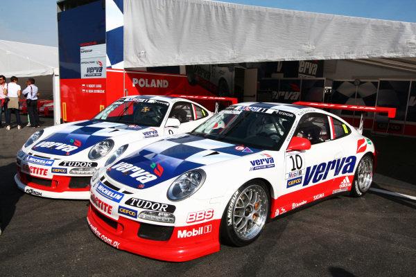 Vera Racing Porsches of Robert Lukas (POL) Verva Racing Team and Kuba Giermaziak (POL) Verva Racing Team. Porsche Supercup, Rd 9, Monza, Italy, 10-12 September 2010.