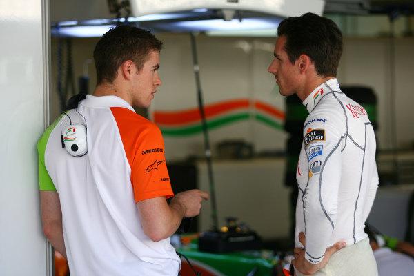 (L to R): Paul Di Resta (GBR) Force India and Adrian Sutil (GER) Force India F1. Formula One Testing, Pirelli Tyre Testing, Yas Marina Circuit, Abu Dhabi, UAE, Friday 19 November 2010.