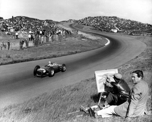 Zandvoort, Holland. 22nd May 1961.Wolfgang von Trips (Ferrari Dino 156), 1st position, action.World Copyright: LAT Photographic.