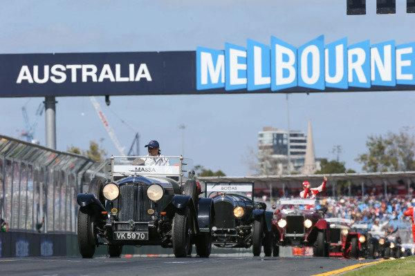 Felipe Massa (BRA) Williams on the drivers parade at Formula One World Championship, Rd1, Australian Grand Prix, Race, Albert Park, Melbourne, Australia, Sunday 15 March 2015.