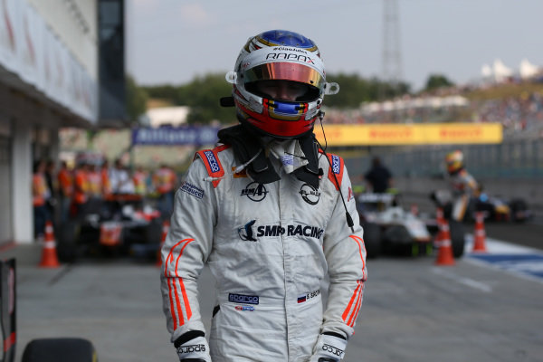 Race one third placed Sergey Sirotkin (RUS) Rapax in the parc ferme at GP2 Series, Rd6, Hungaroring, Hungary, 24-26 July 2015.