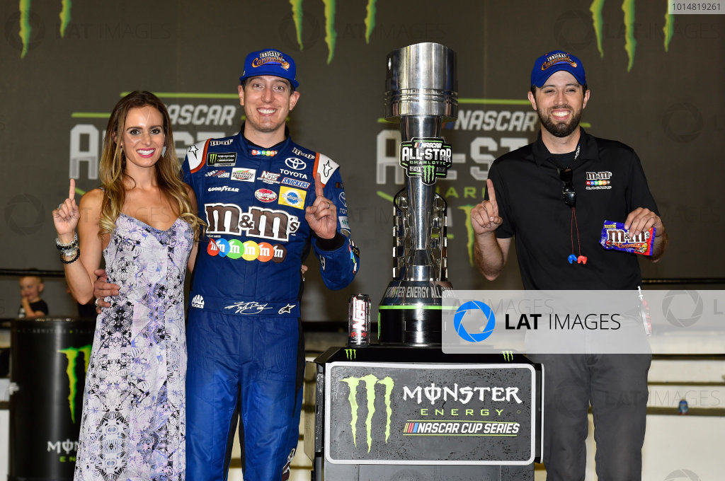 Monster Energy NASCAR Cup Series Monster Energy NASCAR All-Star Race Charlotte Motor Speedway, Concord, NC USA Saturday 20 May 2017 Kyle Busch, Joe Gibbs Racing, M&M's Caramel Toyota Camry celebrates his win in Victory Lane World Copyright: Nigel Kinrade LAT Images ref: Digital Image 17CLT1nk07416