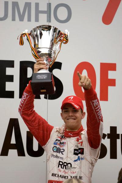 Jules Bianchi, ART Grand Prix celebrates on the podium after winning the race.Portrait.  World Copyright: Drew Gibson/LATref: Digital Image MQ9M3716