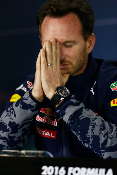 Albert Park, Melbourne, Australia. Friday 18 March 2016. Christian Horner, Team Principal, Red Bull Racing, in the Team Principals Press Conference. World Copyright: Andrew Hone/LAT Photographic ref: Digital Image _ONZ2133