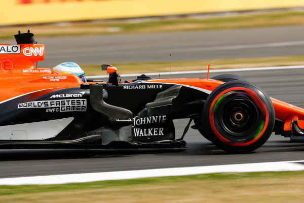 Silverstone, Northamptonshire, UK.  Friday 14 July 2017. Fernando Alonso, McLaren MCL32 Honda. World Copyright: Glenn Dunbar/LAT Images  ref: Digital Image _X4I3192