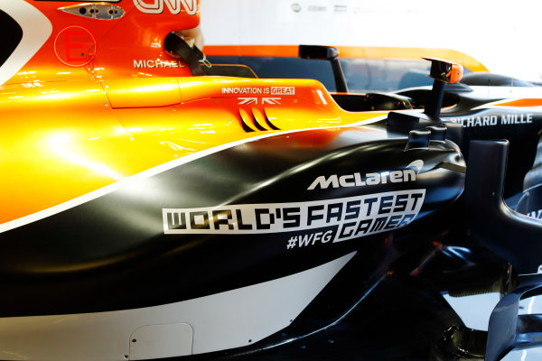 Red Bull Ring, Spielberg, Austria. Thursday 06 July 2017. McLaren MCL32 Honda side-pod detail and World's Fastest Gamer branding. World Copyright: Steven Tee/LAT Images ref: Digital Image _O3I4693