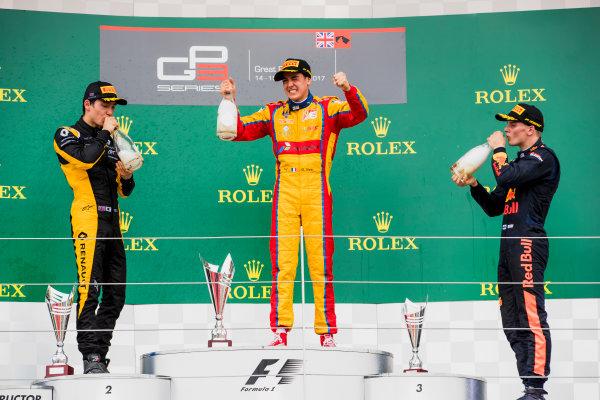 2017 GP3 Series Round 3.  Silverstone, Northamptonshire, UK. Sunday 16 July 2017. Jack Aitken (GBR, ART Grand Prix), Giuliano Alesi (FRA, Trident), Niko Kari (FIN, Arden International).  Photo: Zak Mauger/GP3 Series Media Service. ref: Digital Image _56I0287