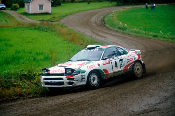 1000 Lakes Rally, Finland. 27th - 29th August 1993.Juha Kankkunen/Denis Giraudet (Toyota Celica Turbo 4WD), 1st position, action. World Copyright: LAT Photographic.Ref: Colour Transparency.