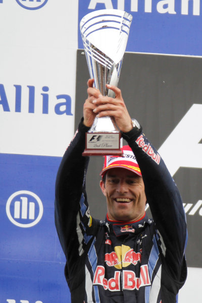 Spa-Francorchamps, Spa, Belgium 29th August 2010 Mark Webber, Red Bull Racing RB6 Renault, 2nd position, with his trophy. Portrait. Podium.  World Copyright: Charles Coates/LAT Photographic ref: Digital Image _G7C0666