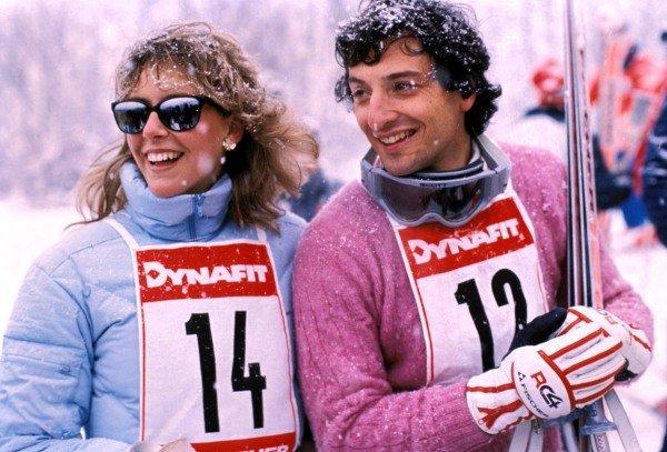 Kitzbuhel, Austria. 1983. Riccardo Patrese and wife Susi participate in a skiing event