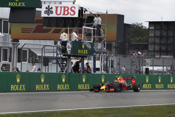 Max Verstappen (NED) Red Bull Racing RB12 takes the chequered flag at Formula One World Championship, Rd12, German Grand Prix, Race, Hockenheim, Germany, Sunday 31 July 2016.