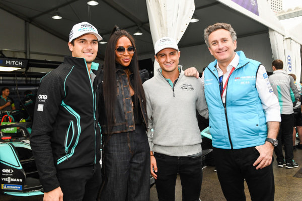 Model Naomi Campbell meets Alejandro Agag, CEO, Formula E, Mitch Evans (NZL), Panasonic Jaguar Racing, Jaguar I-Type 3 and Nelson Piquet Jr. (BRA), Panasonic Jaguar Racing, Jaguar I-Type 3