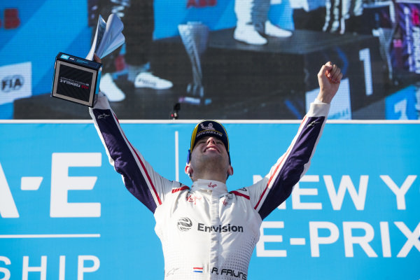 Robin Frijns (NLD), Envision Virgin Racing, Audi e-tron FE05, celebrates on the podium